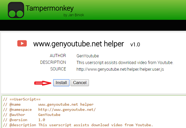 Install genyoutube extension